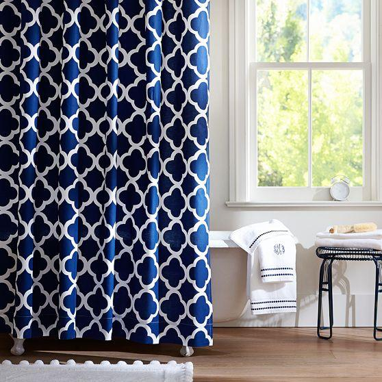 Clover Navy Shower Curtain