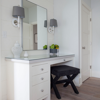 White Modern Dressing Table With Black Leather Strap