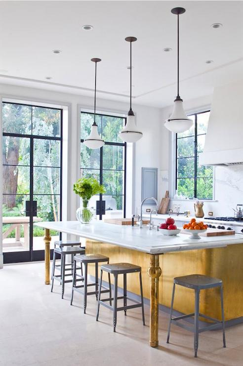 huge discount f8e54 03150 Gold Kitchen Island - Eclectic - kitchen - Studio William Hefner