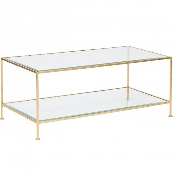 Worlds Away Taylor Tier Rectangle Gold Coffee Table - Glass coffee table with gold trim