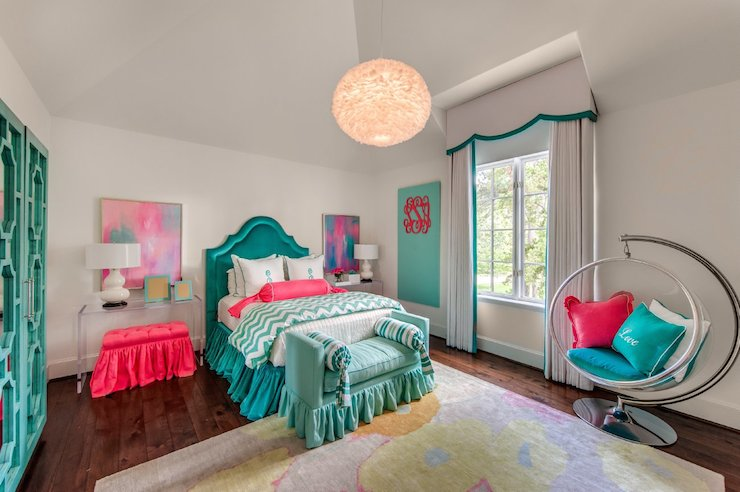 teal and pink bedroom teal headboards contemporary s room talbot 17468