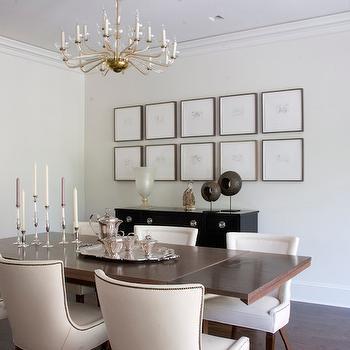 Brass and Glass Chandelier, Transitional, dining room, Studio William Hefner