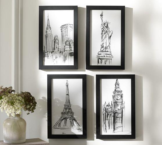 City icon black and white framed prints for Black and white mural prints