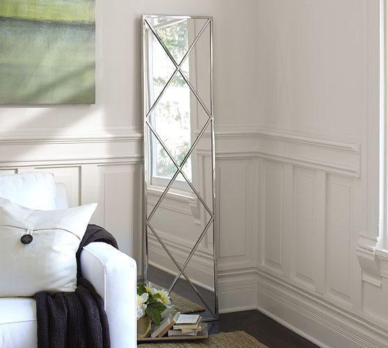 Isabel Silver Diamond Floor Mirror