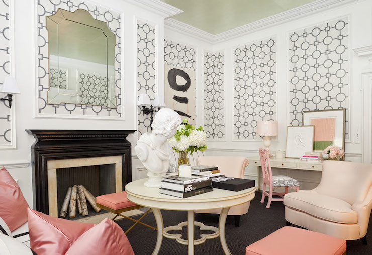 Black And White And Pink Living Room pink velvet chair - hollywood regency - living room - tobi fairley