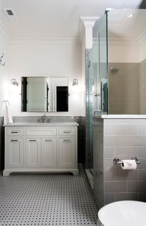 Gray Subway Tiled Contemporary Bathroom Urban