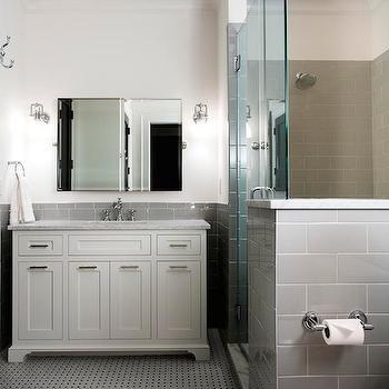 Gray Subway Tiled & Half Tiled Bathroom Backsplash Design Ideas