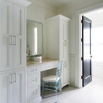 Make up vanity transitional bathroom anne hepfer designs for Bathroom designs with dressing area