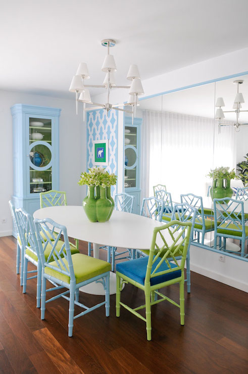 Turquoise Bamboo Chairs Contemporary Dining Room