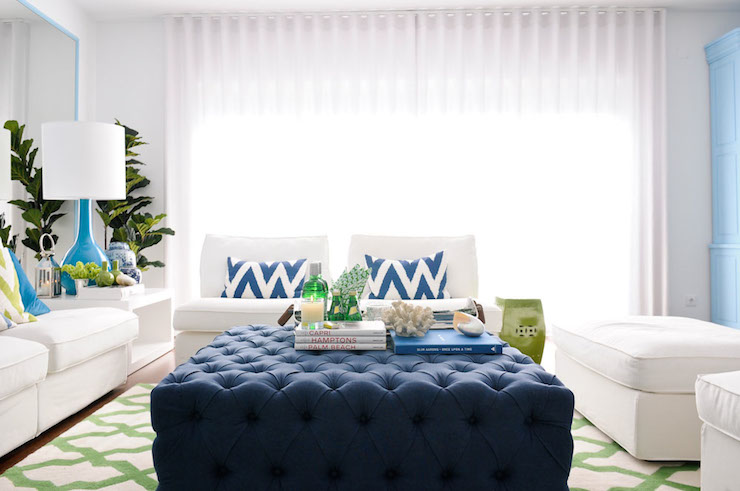 Fun And Fresh Living Room Design With White Armless Sofa Beside A Modern  White Side Table Topped With A Tall Turquoise Bottle Shaped Lamp With  Fiddle Leaf ... Part 50