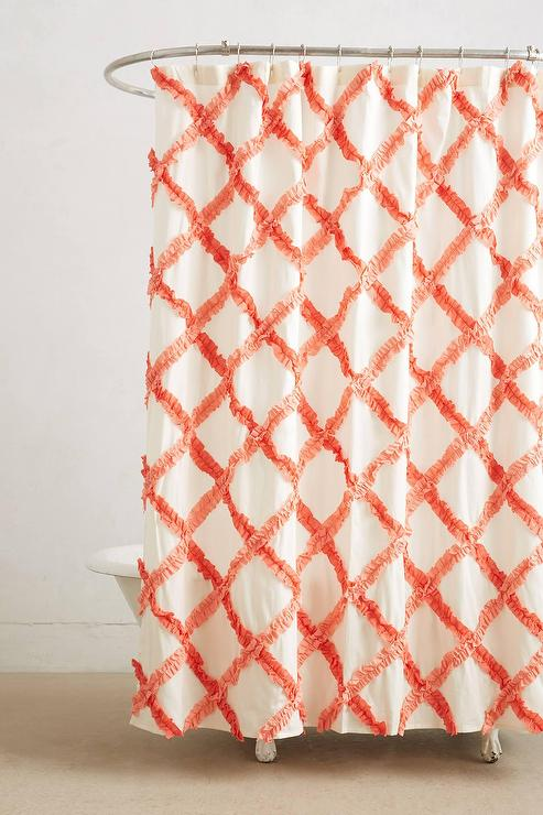 Ruffled Trellis Orange Shower Curtain