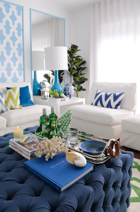 Blue And Green Tropical Style Living Room With Panels Of Turquoise Moroccan Tile Stencil Beside Framed Mirror Which Highlight A Modern