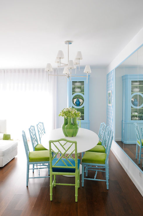 white and green dining room with chippendale chairs - transitional