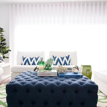Navy Tufted Ottoman, living room, Maria Barros