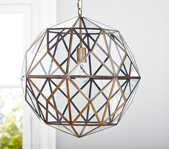 Glass And Metal Brass Cage Pendant