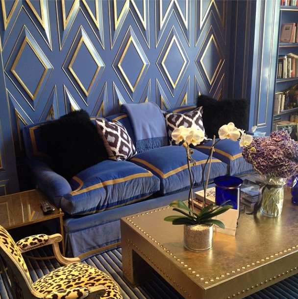 Blue Velvet Sofa - Contemporary - living room - Kirsten Kelli