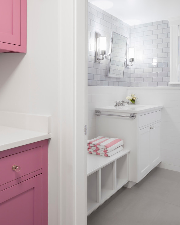 Pink Cabinets  Contemporary  bathroom  Reiko Feng Shui Design