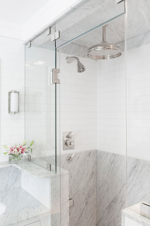 Mixed Shower Tiles Transitional Bathroom Reiko Feng