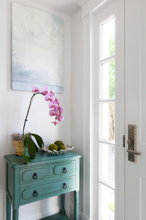 Foyer Mirror Feng Shui : Teal console table cottage entrance foyer reiko feng