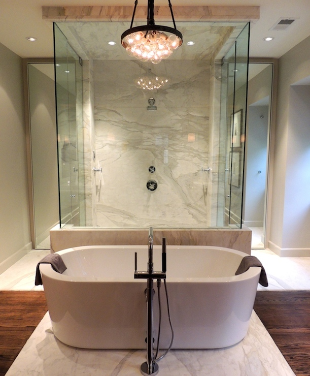 bathtub in front of shower contemporary bathroom chad james group. Black Bedroom Furniture Sets. Home Design Ideas