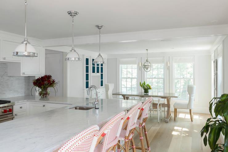 Pink barstools transitional kitchen reiko feng shui design - Feng shui kitchen design ...