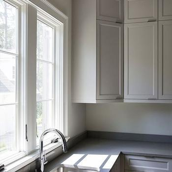 Gray Kitchen Window Moldings Design Ideas