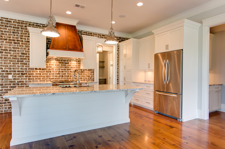 Exposed Brick Walls Transitional Kitchen Jacksonbuilt Custom Homes