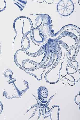 Walls Need Love Blue And White Vintage Nautical Removable Wallpaper