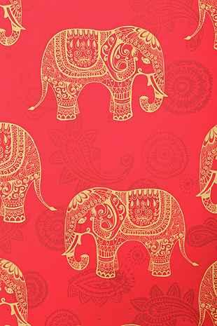 Walls Need Love Red Elephant Removable Wallpaper
