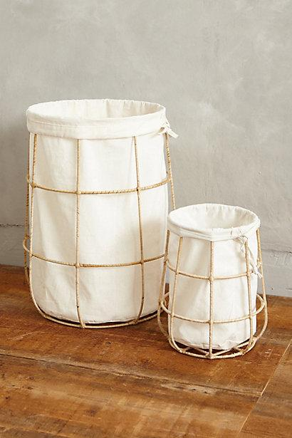 Wood Handles Black Iron Wire Hamper And Liner