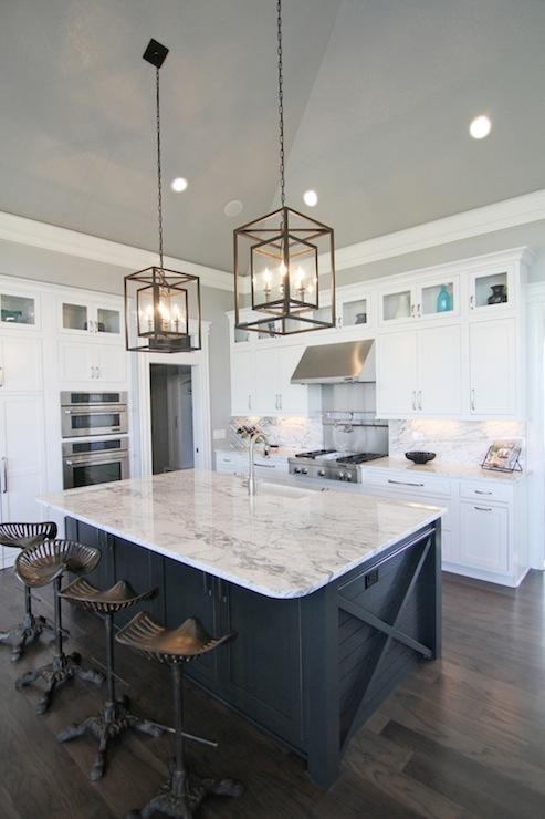 glamorous kitchen island white center | Navy Kitchen Island - Transitional - kitchen - Great ...