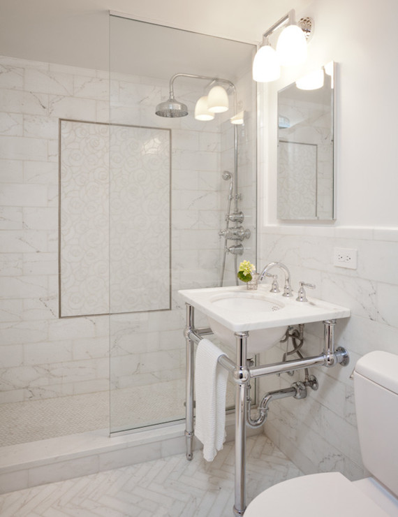 White Marble Herringbone Tiles Transitional Bathroom Darci Hether
