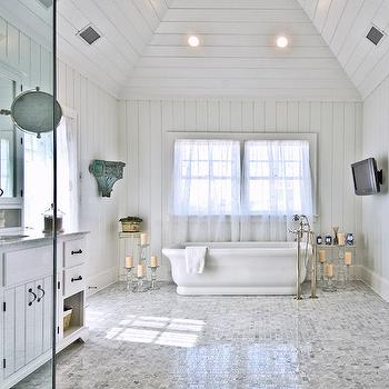 Double washstand ideas cottage bathroom for Master bathroom vaulted ceiling