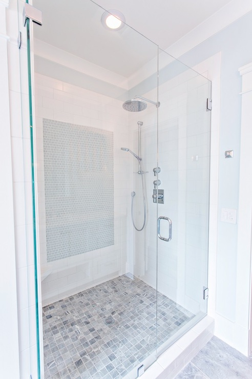 Stunning Bathroom Features A Large Walk In Shower With Frameless Glass Front Highlighting An Oversize White Subway Tile Surround Accented Panel Of