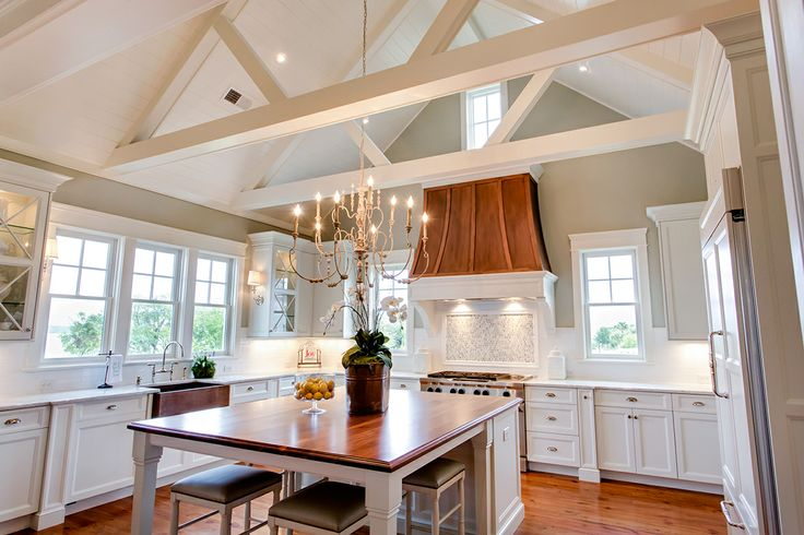 Kitchen cathedral ceiling transitional kitchen for Vaulted ceiling kitchen designs