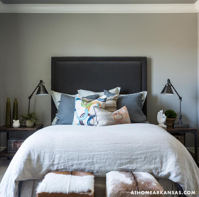Metallic Masculine Bedroom: Wood And Iron Nightstands