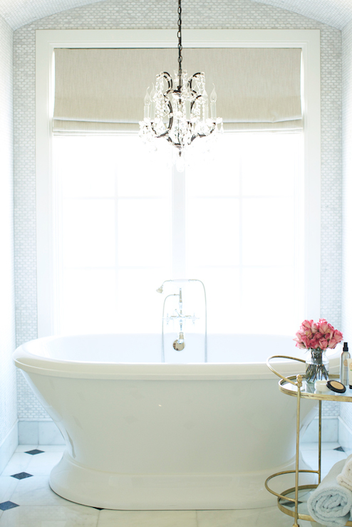 Linear Crystal Chandelier Over Vintage Tub Cottage