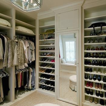 Built In Shoe Shelves, Transitional Closet, Brooks & Falotico