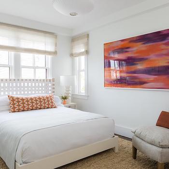 Gray Linen Slipper Chair, Transitional, bedroom, Rachel Reider Interiors