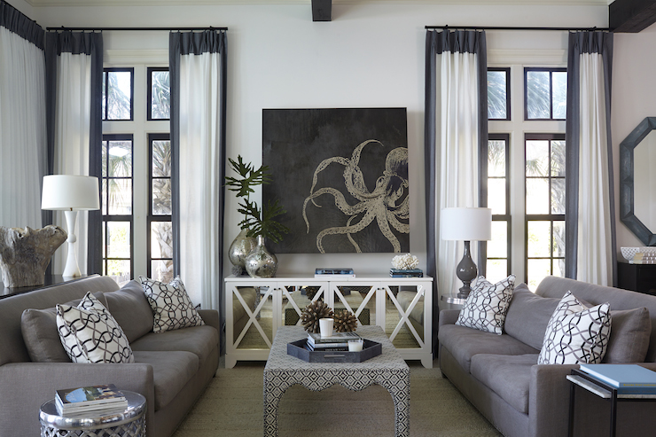View Full Size. Chic Living Room Features Octopus Art Over White Mirrored  Cabinet ...