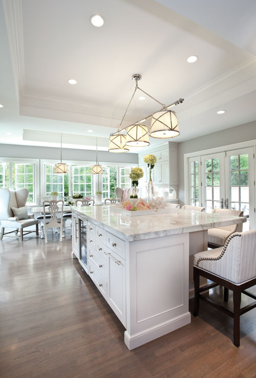 Grosvenor Linear Triple Pendant Transitional Kitchen Elizabeth Kimberly Design