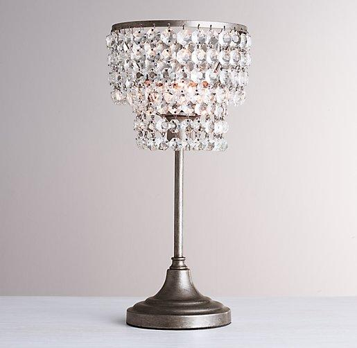 Soho Clear Crystal Grey Table Lamp