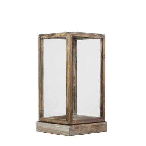 Small Wood And Glass Greywash Brown Display Box