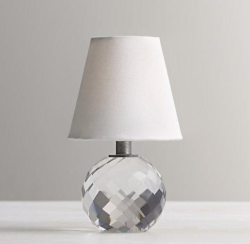 Mini Crystal Table Lamps: Mini Lourdes Clear Crystal Ball Lamp With White Shade,Lighting