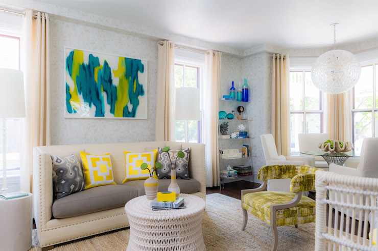 Yellow And Turquoise Abstract Art Transitional Living
