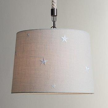 Embroidered Star Burlap Pendant Bleached I RH Baby and Child