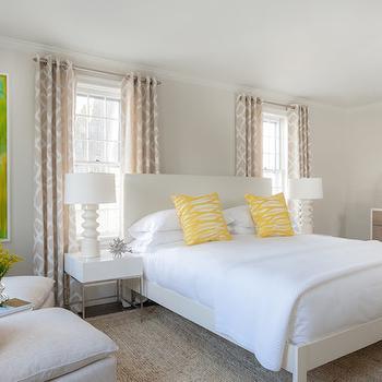 White Lacquer Nightstands, Transitional, bedroom, Rachel Reider Interiors