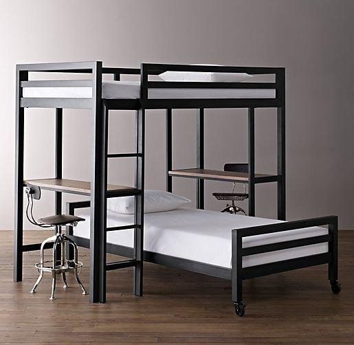 Industrial Loft Black Study Bunk Bed With 2 Desks