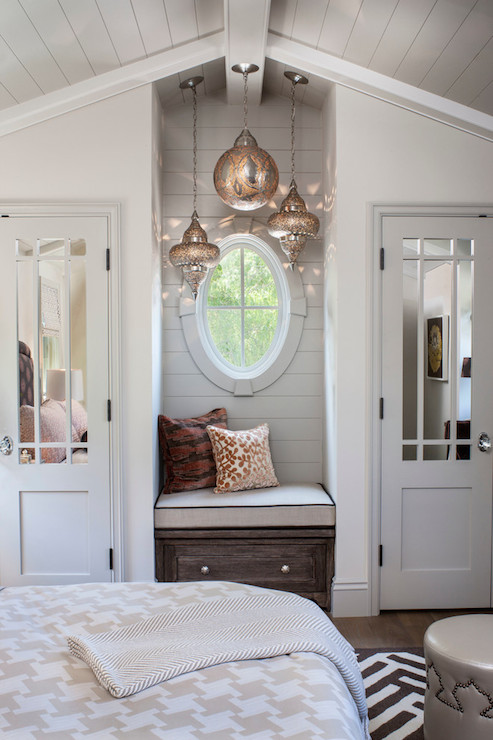 Window seat nook transitional bedroom norman design for Bedroom designs with window seat