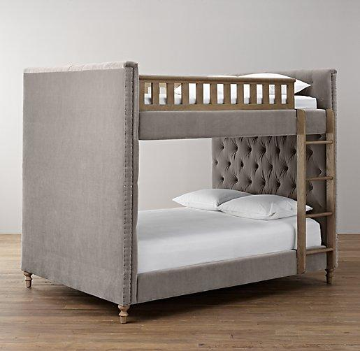 Chesterfield upholstered full over full grey bunk bed for Full over full bunk beds